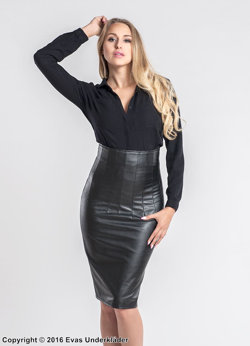 Pencil skirt, faux leather, high waist, elegant design